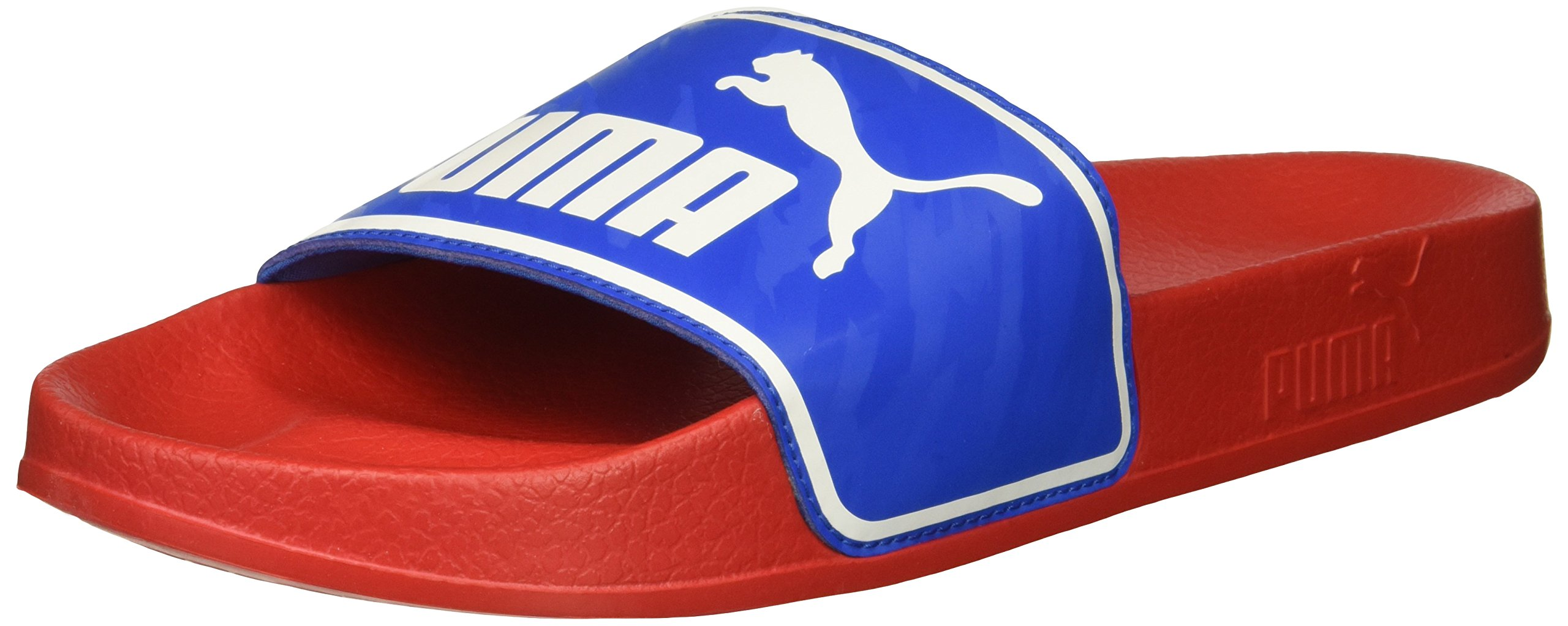 PUMA Unisex Leadcat New Skool Kids Slide Sandal, Ribbon red-Strong Blue White, 6 M US Big