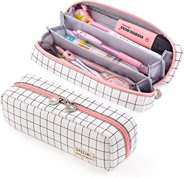 Amazon Com Easthill Pencil Case Grid Pencil Pouch With 3 Compartments Stationery Bag Pencil Bag For Girls Teens Students Art School And Office Supplies Plaid White Office Products
