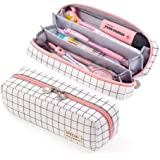 EASTHILL Pencil Case Grid Pencil Pouch with 3 Compartments Stationery Bag Pencil Bag for Girls Teens Students Art School and Office Supplies (Plaid White)