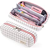 EASTHILL Pencil Case Grid Pencil Pouch with 3 Compartments Stationery Bag Pencil Bag for Girls Teens Students Art School and