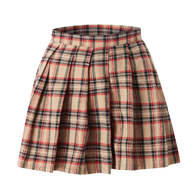 fc6222188ea15e Bestechno Women's Elastic Waist Tartan Pleated School Skirt Uniform Japan  high Waisted (Series Beige,