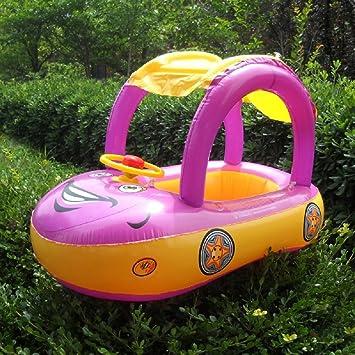 Highdas Flotador inflable infantil del asiento del barco Playa del coche Parasol piscina de agua del pabellón, púrpura: Amazon.es: Hogar