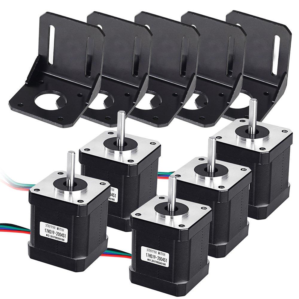 Beautystar 5 PCS Nema 17 Stepper Motor Bipolar 2.0 A 83.6oz.in(59Ncm) 47mm Body 4-lead w/ 1m 4-Pin Cable +5 PCS Nema 17 Mounting Brackets for 3D Printer/CNC