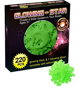 Glowing in the Dark Stars Wall Stickers - Glowing Reusable Ceiling Decors of 220 Stars and 1 Moon Set for Kids Bedding Rooms or Birthday Party