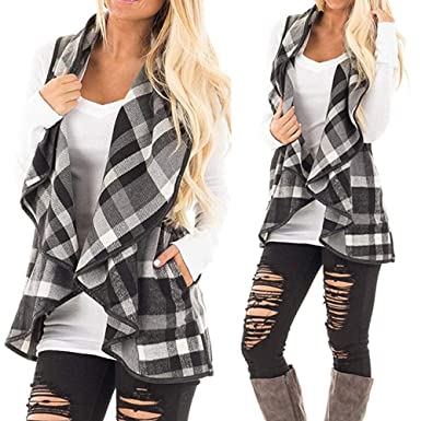 0e8c122d40387 Bestoppen 2018 Sale, Womens Vest Plaid Sleeveless Lapel Open Front Cardigan  Sherpa Jacket Pockets for Women Ladies: Amazon.co.uk: Clothing