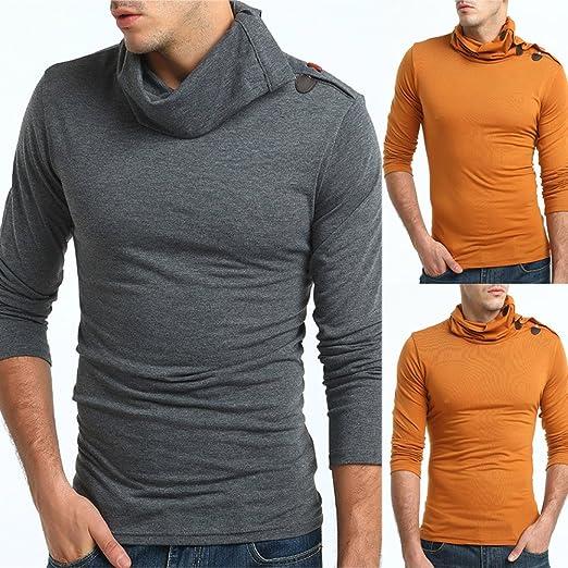 Suéter de chifón de Manga Larga de Color Puro de otoño para Hombre, Blusa Superior de Internet: Amazon.es: Ropa y accesorios
