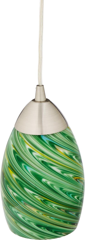 4 by 7-Inch Satin Nickel Finish Elk Lighting 10089//1EVG Mini Vortex 1-Light Pendant with Evergreen Glass Shade