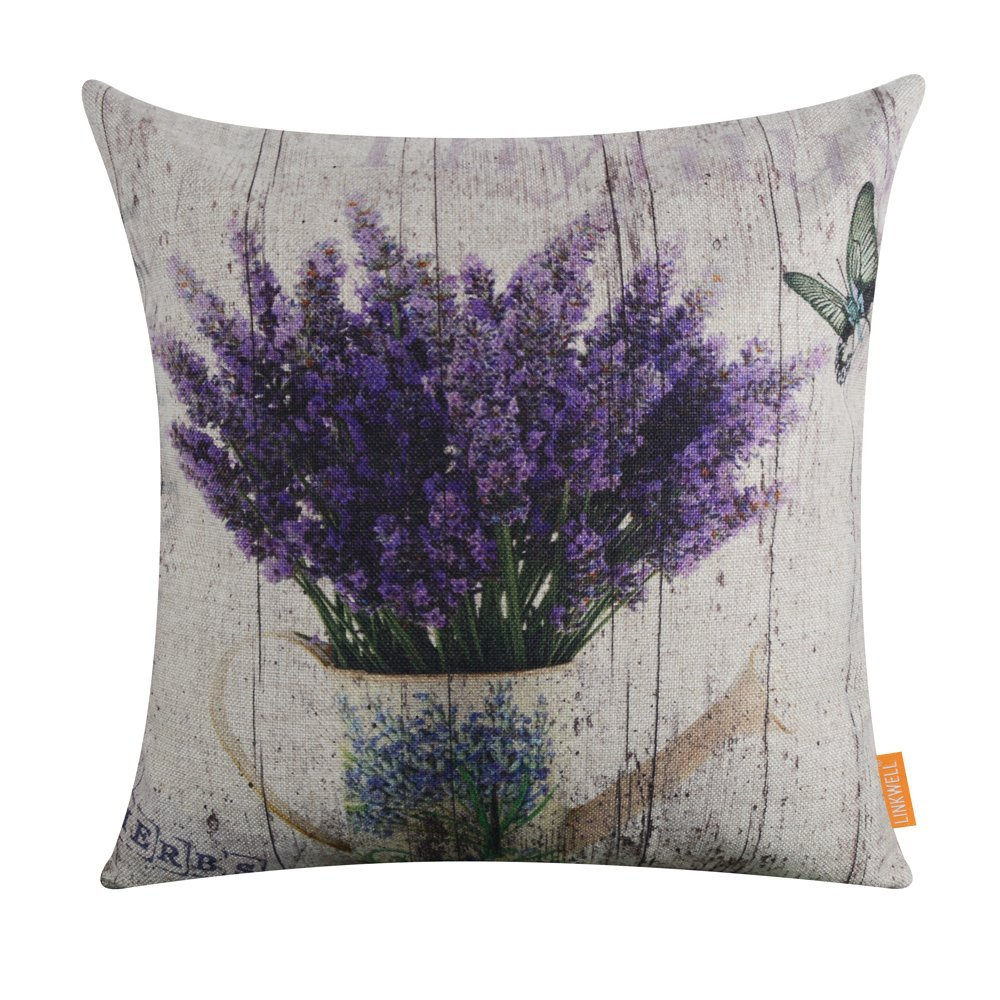 LINKWELL 18''x18'' Vintage Wood Look Purple Lavender Flower Home Burlap Throw Pillow Case Cushion Cover (CC1142)