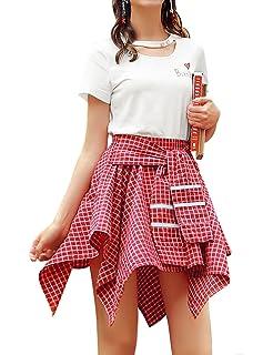20f21274ed44a Amazon.com: MolVee Women's Elastic Waist Plaid School Skirt Casual ...