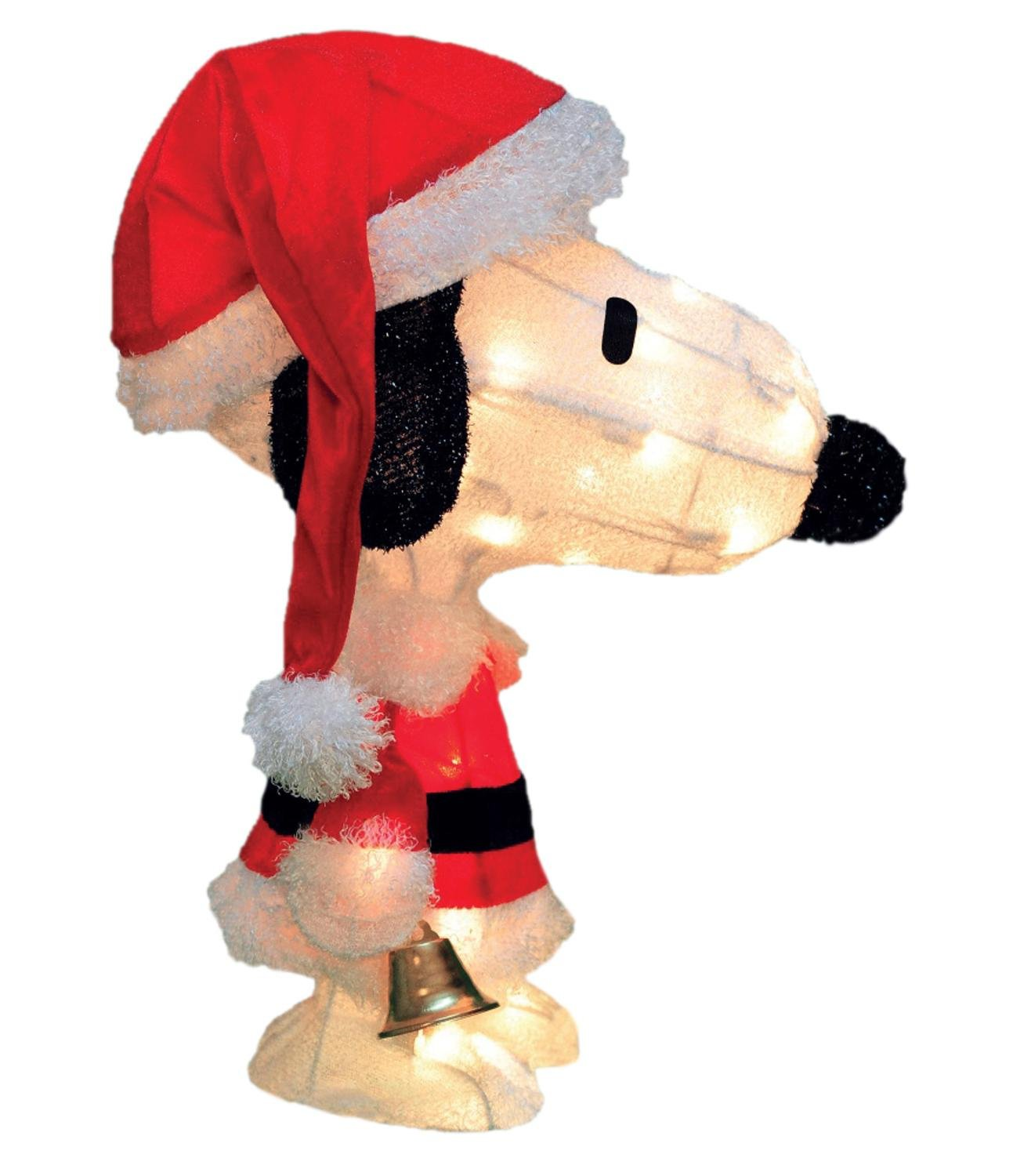 By ProductWorks 18'' Pre-Lit Peanuts Soft Tinsel Santa Claus Snoopy Christmas Yard Art Decoration - Clear Lights