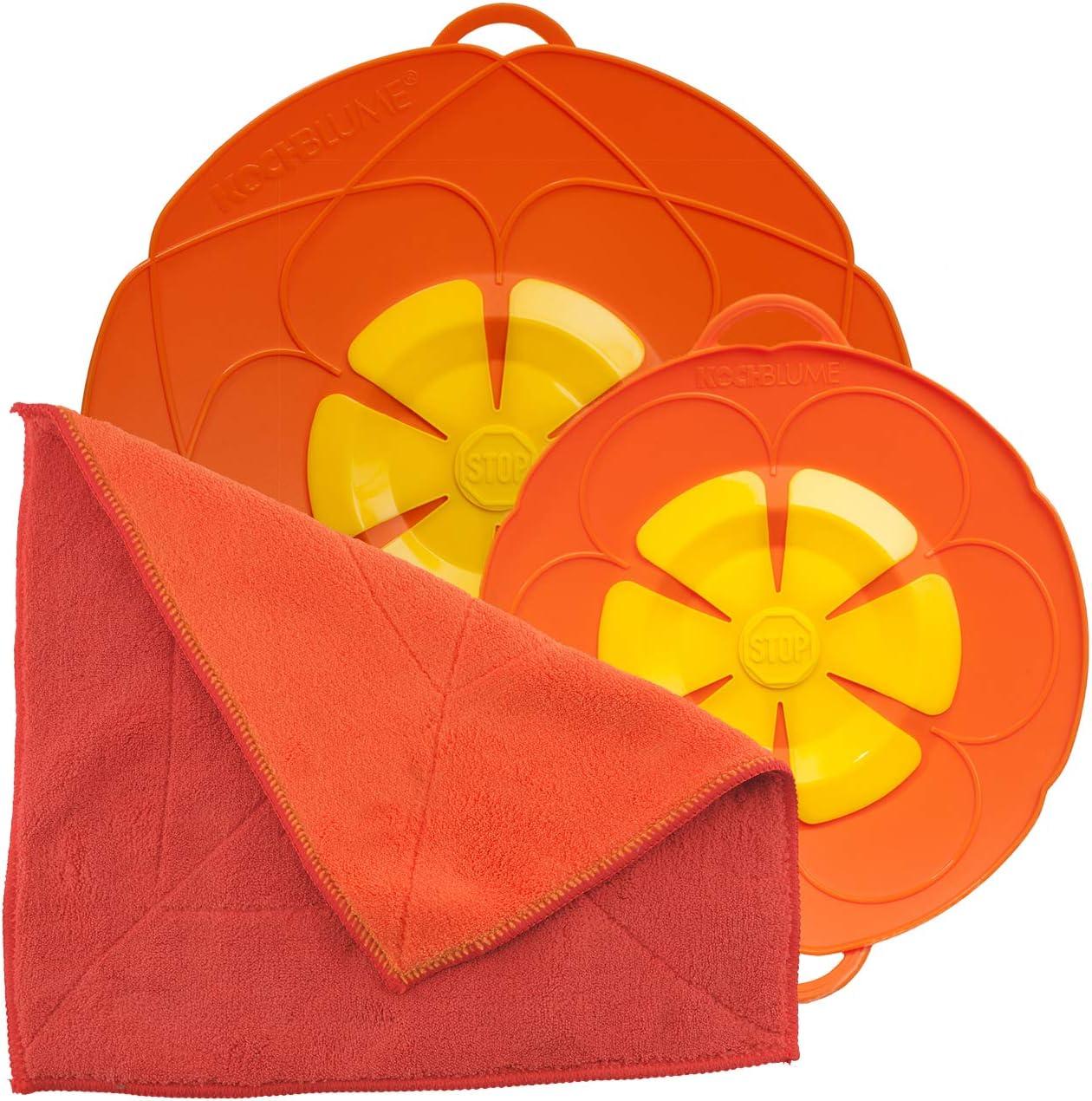 Silikon /Überkochschutz f/ür T/öpfe und Pfannen Kochblume Spar-Set f/ür T/öpfe von 14 bis 24 cm mit Microfasertuch als Set in der pinken Box hellblau