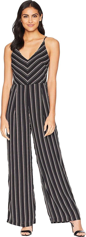 Adelyn Rae Womens Kipling Woven Striped Jumpsuit
