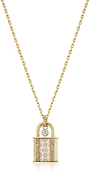michael necklace women s mop silver chain pendant disc monogram kors p tone jewelry