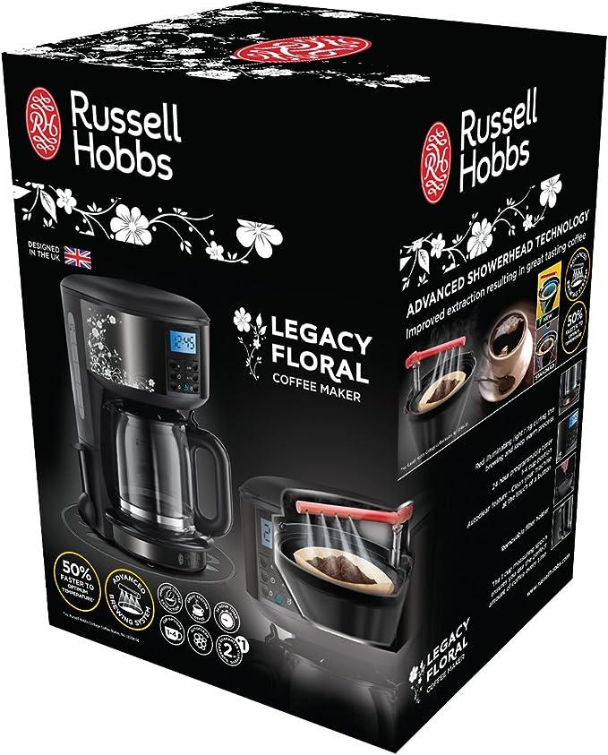 Russell Hobbs Cafetera de Goteo Legacy Floral 21991-56, 1000 W, Negro: Amazon.es: Hogar
