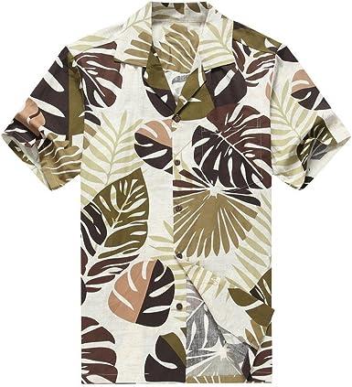Hecho en Hawai de los Hombres Camisa Hawaiana Camisa de la Hawaiana S Hojas Tropicales en la Aceituna: Amazon.es: Ropa y accesorios