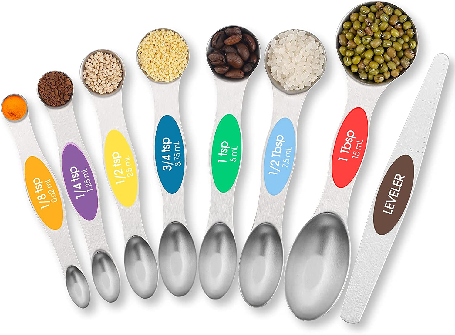 TEMEISI Magnetic Measuring Spoons Set, Dual Sided Stainless Steel Measuring Spoons Fits in Spice Jars, Stackable Teaspoon for Measuring Dry and Liquid Ingredients - Set of 8: Kitchen & Dining