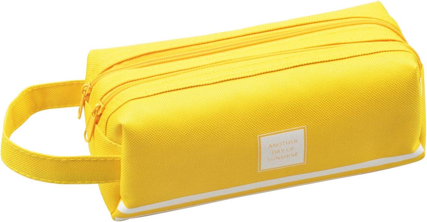 Yixuan Estuches de Gran Capacidad Estuches dos Compartimientos Estuche Lapices de Colores Bolsillo Lápiz Case Bolsa de Lápices Estuche Escolar Estuches Escolares Cosmética Bolsa (Amarillo): Amazon.es: Oficina y papelería