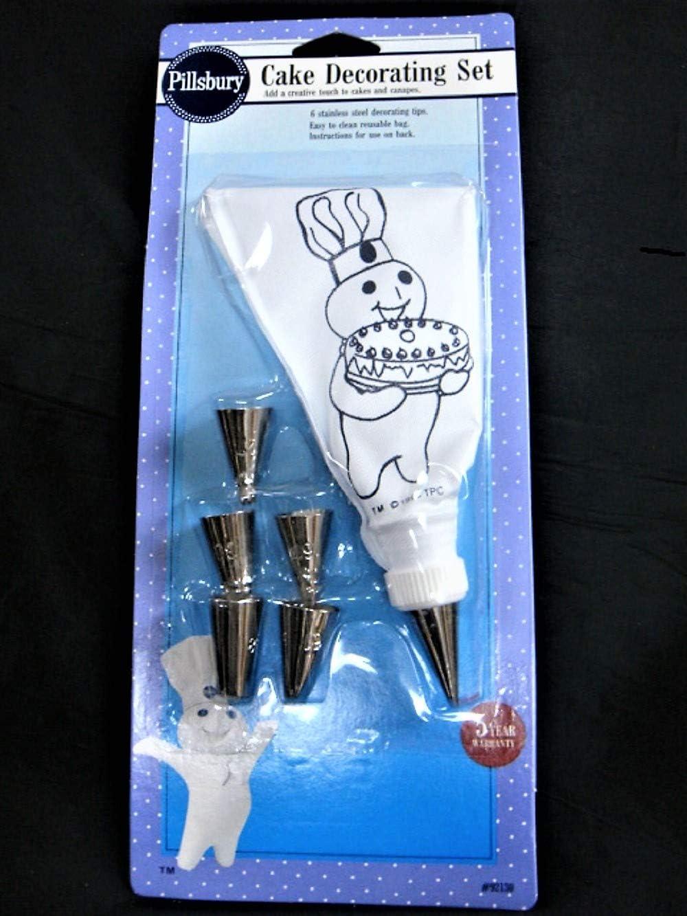 1992 Pillsbury Doughboy Cake Decorating Set-6 Stainless Tips-Easy to Clean Reusable Bag-NIP