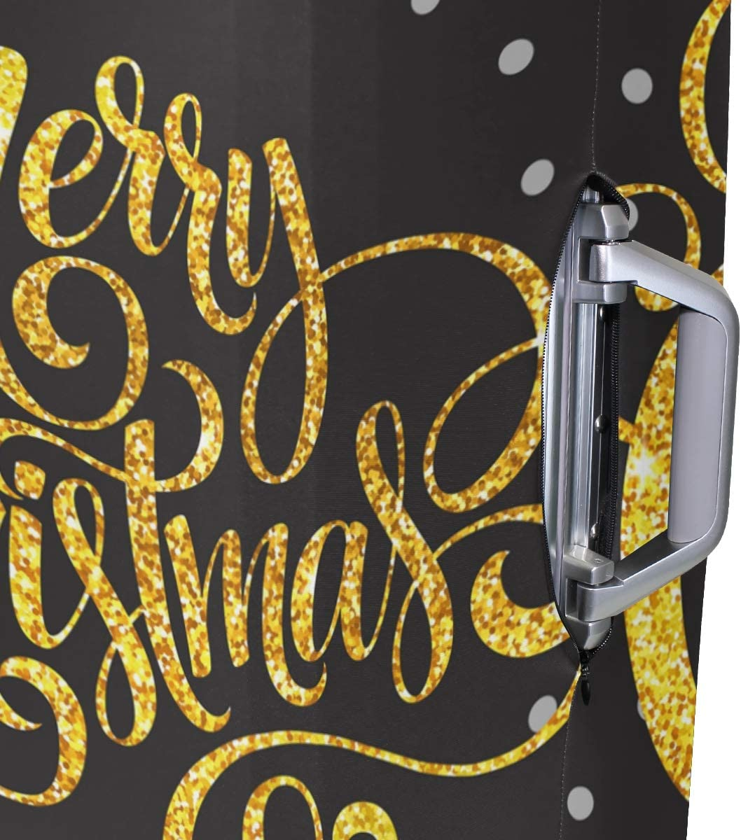 GIOVANIOR Merry Christmas Gold Glittering Lettering Design Luggage Cover Suitcase Protector Carry On Covers