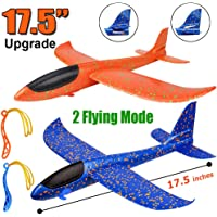 BooTaa 2 Pack Airplane Toys, Upgrade 17.5″ Large Throwing Foam Plane, 2 Flight Mode Glider Plane, Flying Toy for Kids, Gifts for 3 4 5 6 7 Year Old Boy, Outdoor Sport Toys Birthday Gifts Party Favors
