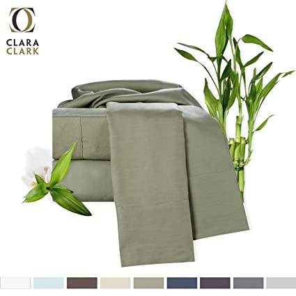 Bamboo Bed Sheet Set, Sage (Green) Queen Size, By Clara Clark,