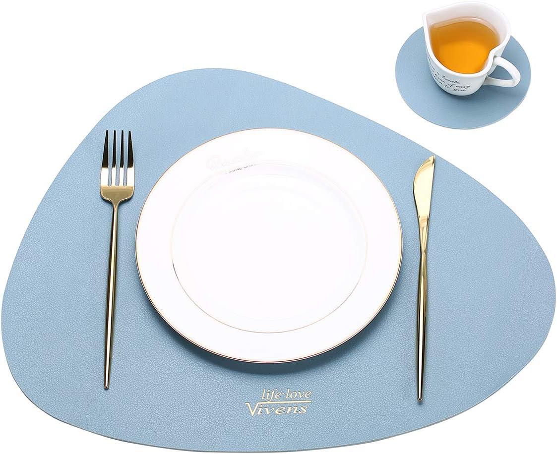 Set de Table antid/érapant et /à lisolation Thermique Tapis de Table color/és lavables imperm/éables VIVENS Set de Table 43 * 34 CM Bleu Sets de Table et sous-Verres en Cuir PU Ensemble de 2
