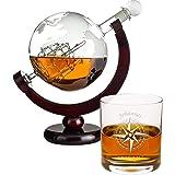 Geschenke 24 Zestaw do whisky z 1 szklanką bez personalizacji – karafka szklana z grawerowaną mapą świata – grawerunek z…