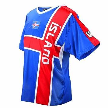 Island Fútbol camiseta azul rojo de fútbol Copa del Mundo Unisex (XS)