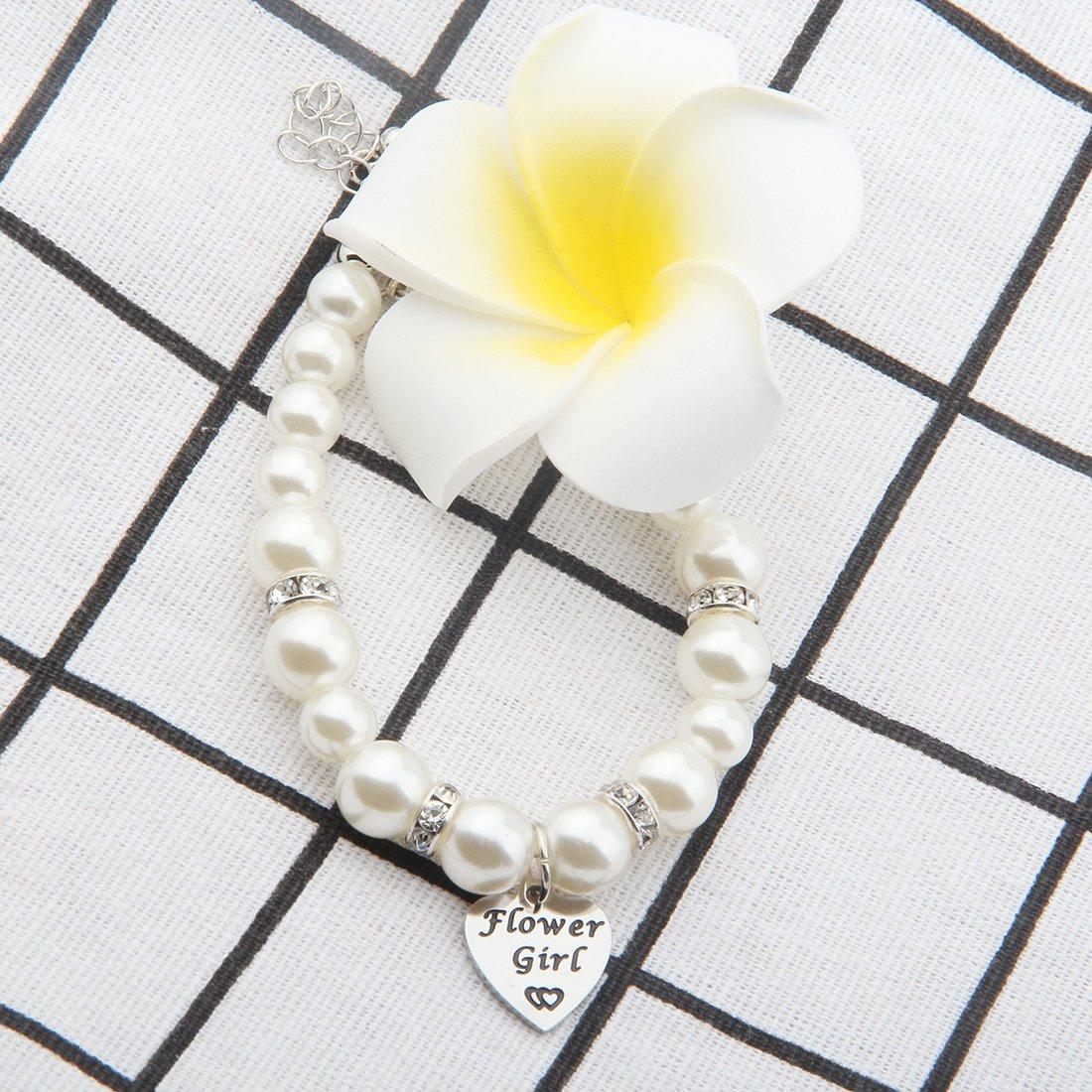 ENSIANTH Flower Girl Bracelet Wedding Party Gift Flower Girl Pearl Bracelet