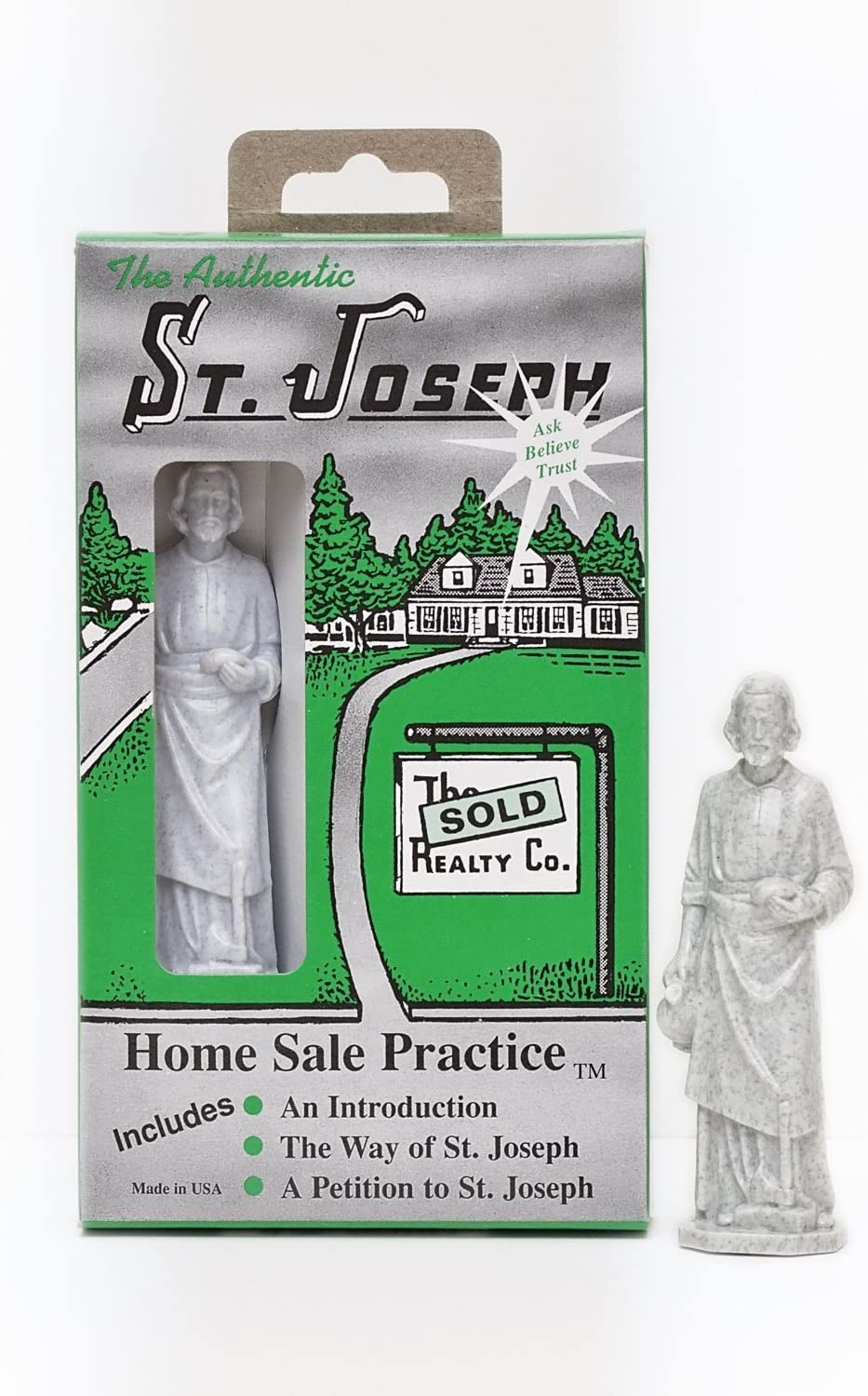 St Joseph Statue Home Seller Kit with Instruction and Prayer Card