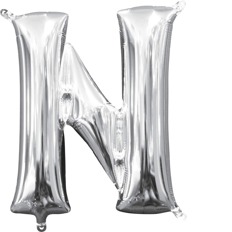 Amscan 3303830 Air‑Filled Letter N Balloon 16 Silver