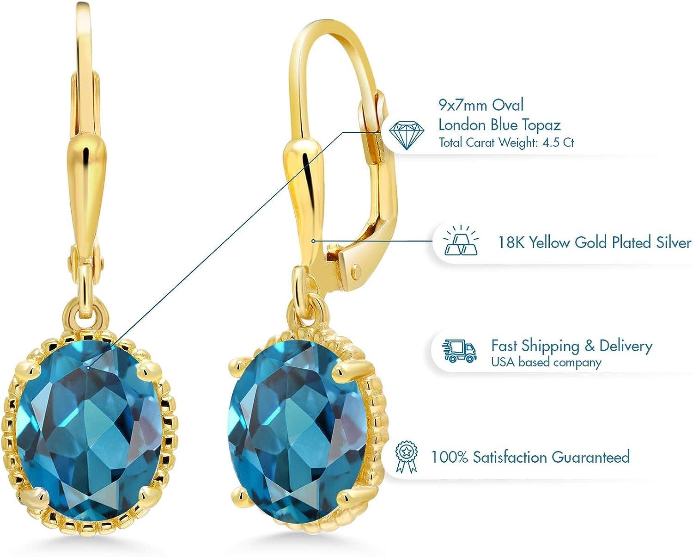 14K Yellow Gold Handmade Gemstone Earrings With 16 MM Round Blue Topaz Gemstones