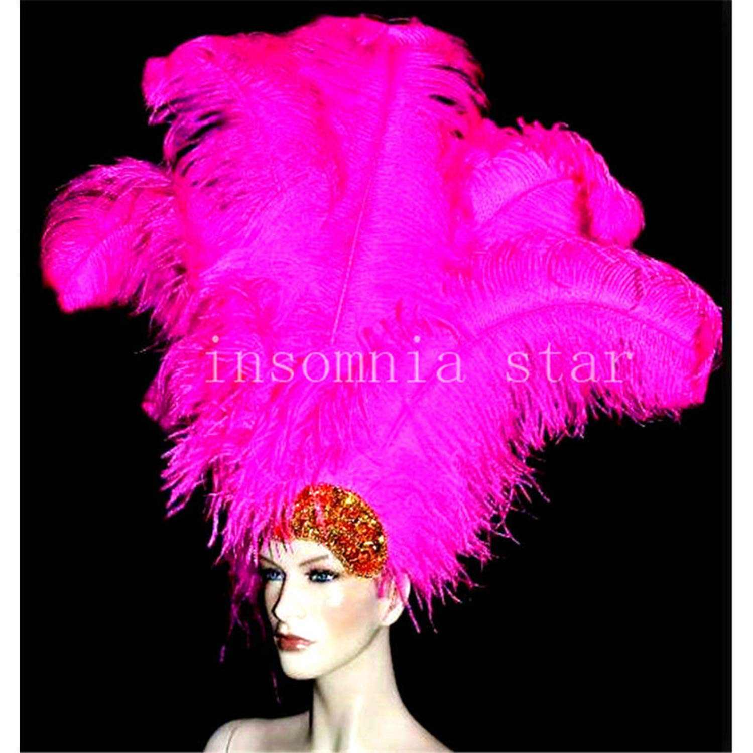 100pcs Small Pole Natural Ostrich Feather 55CM-60CM/22-24 inch Dyed Rose DIY