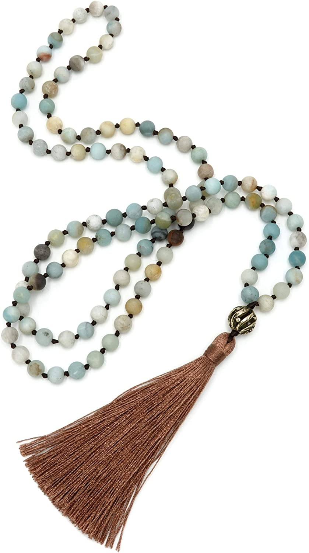 BENAVA Mala Cadena de 108 perlas azul turquesa amazonita piedras preciosas con borla y cobre colgante 80 cm