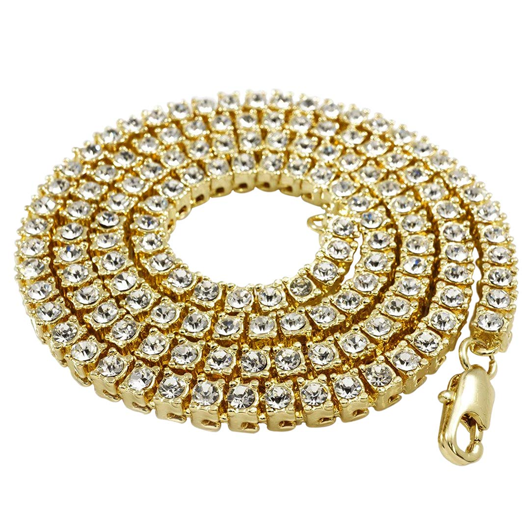 NIV'S BLING - 14K Gold Plated Tennis Necklace - Iced Out 1 Row Chain, 20 inches