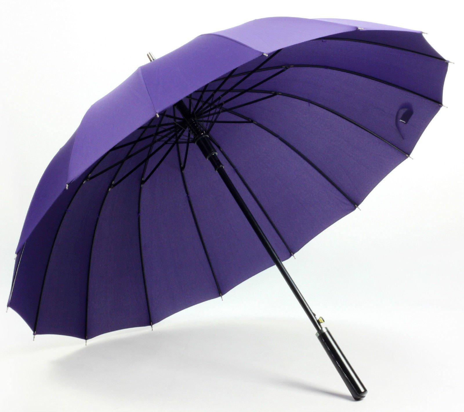 Purple Women'S Mens Windproof Retro Business Sun Rain Long Umbrella