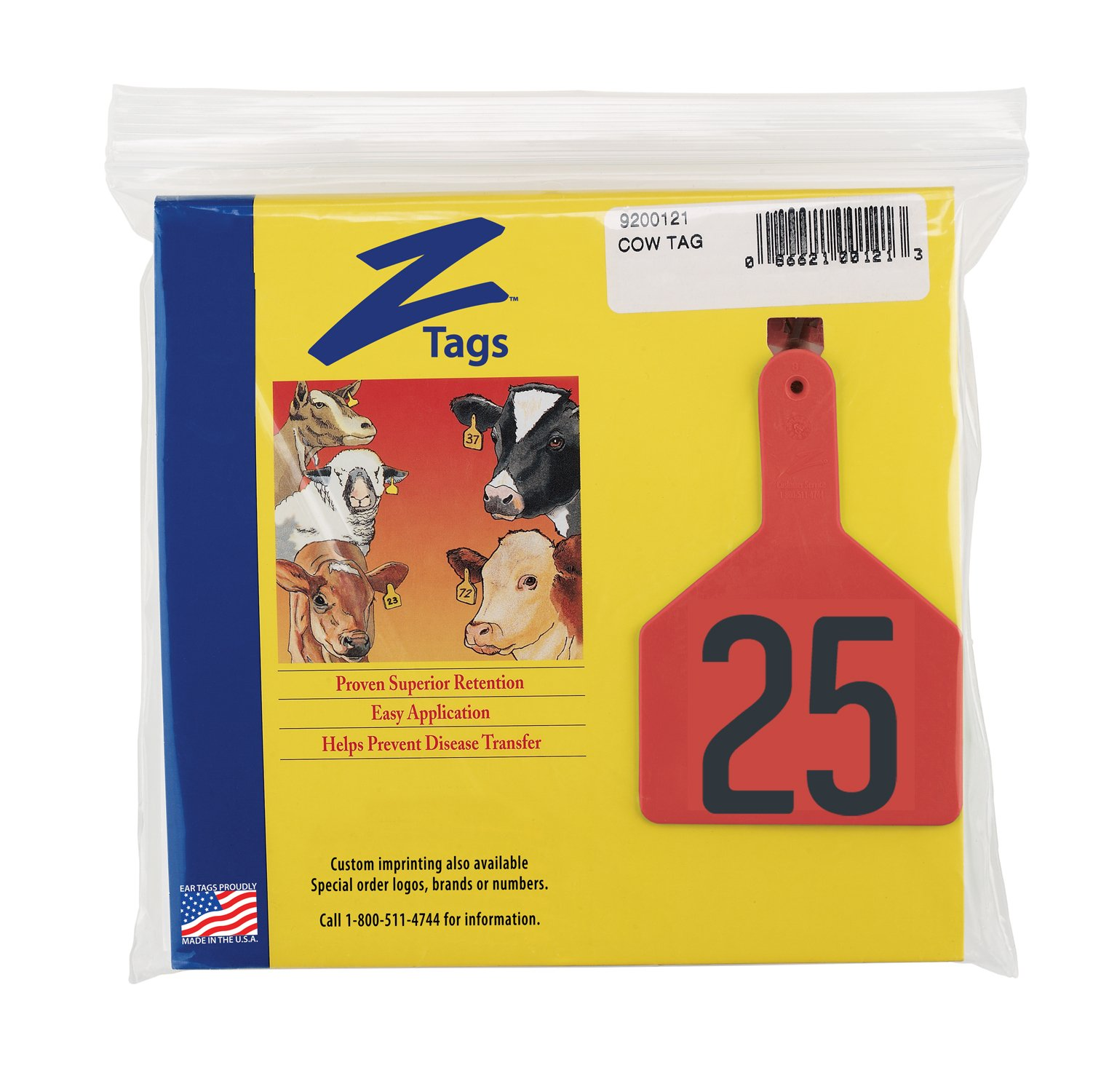 Z Tags 1-Piece Pre-Numbered Hot Stamp Tags for Cows, Numbers from 1 to 25, Red by Z Tags