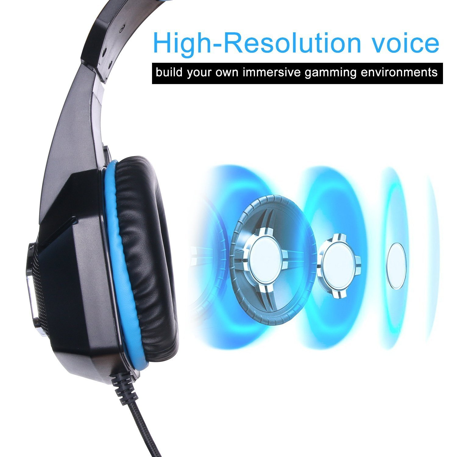 Fuleadture Gaming Headset for PS4 Xbox One, PC Gaming Headset with Mic, Noise Cancelling Over Ear Headphones with LED Light, Bass Surround, Soft Memory Earmuffs for Laptop Mac Nintendo Switch Games by Fuleadture (Image #2)