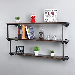 Industrial Pipe Floating Shelves,3 Tier Bookshelf Wall Mounted,48