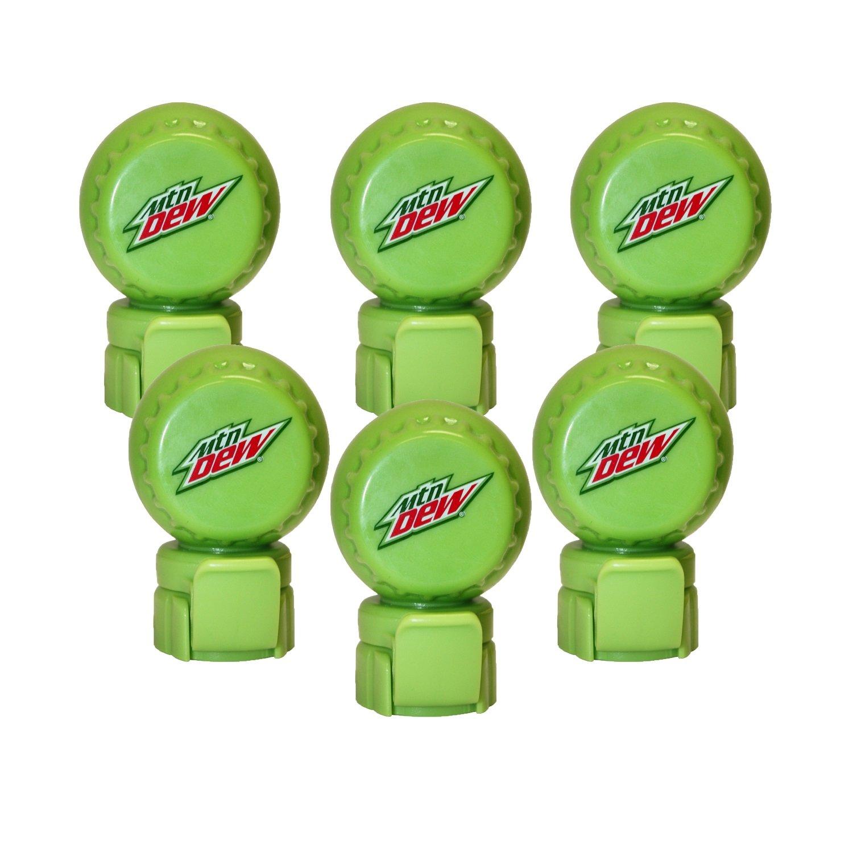 Jokari 6 Count Mtn Dew Modern Logo Fizz Keeper Soda Bottle Pump and Pour Caps, Green