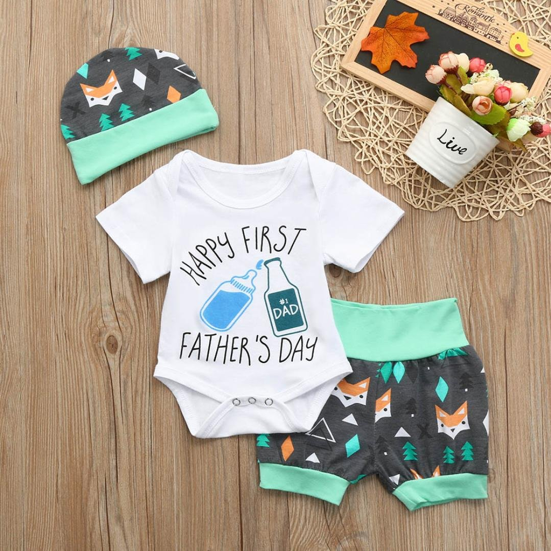 Efaster Baby Girls Boys Fathers Day Letter Romper+Cartoon Fox Shorts+Hat Set