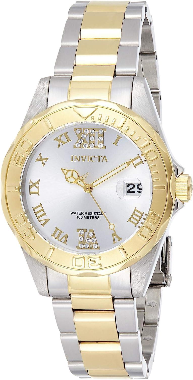 Invicta 12852 Pro Diver Reloj para Mujer acero inoxidable Cuarzo Esfera plata