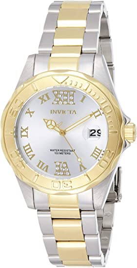 Invicta Women's Pro Diver 38mm Steel and Gold Tone Stainless Steel Quartz Watch, Two Tone (Model: 12852)