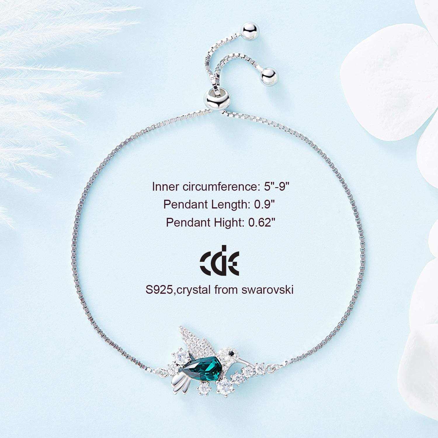 CDE Bracelets for Women, Silver Bracelet Hummingbird Crystal Bangles Charm Jewelry Enriched with Swarovski Crystals by CDE (Image #5)