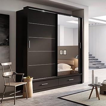 Brand New Modern Bedroom Mirror Sliding Door Wardrobe ARTI 5 In Black Matt  200cm Sold By