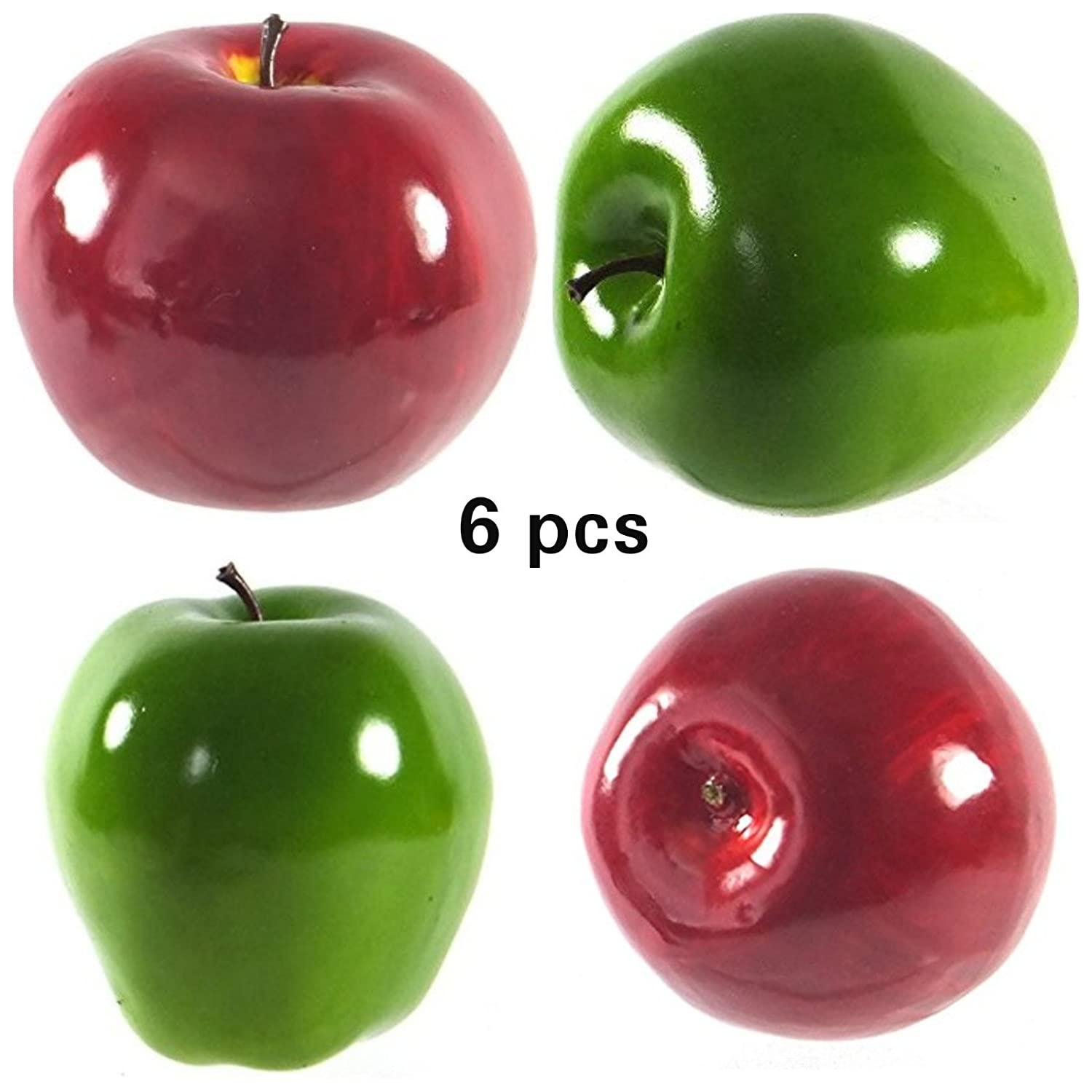 Mezly 6pcs Decorative Apple Large Artificial Washington Apple Red, Green, and Mix Apple Plastic Fruits Home Party Decor (GREEN)