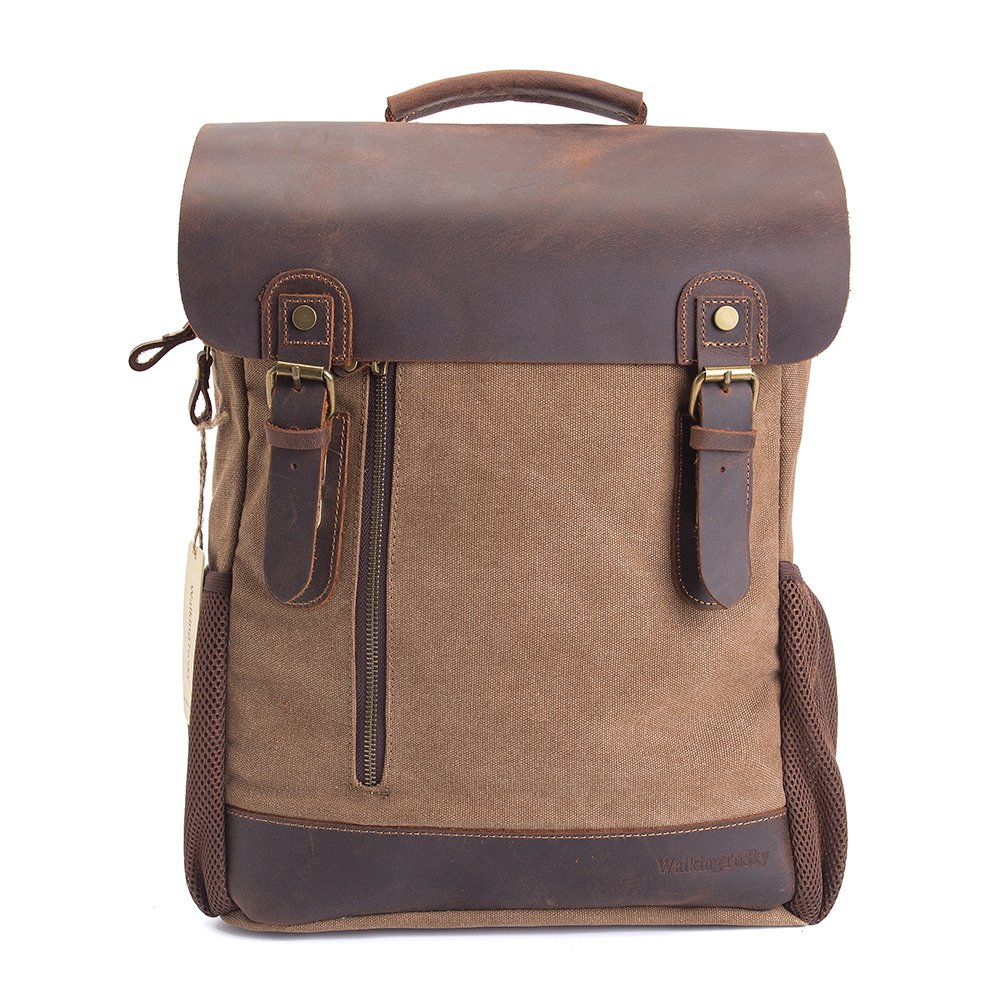 Vintage Leather Canvas Backpack, Retro Canvas Campus School Rucksack Fits 15.6 inch Laptop Backpack, Khaki