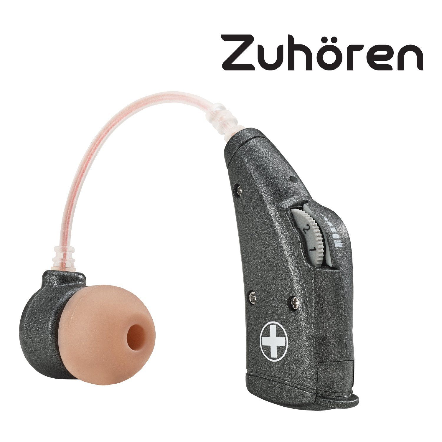Zuhören Digital Hearing Amplifier with 6 color options. BTE (Behind-The-Ear style) sound enhancer amplifier. Come with 4 sizes of ear buds. The P13 cell battery last up to 95 hours. (Sliver Black)