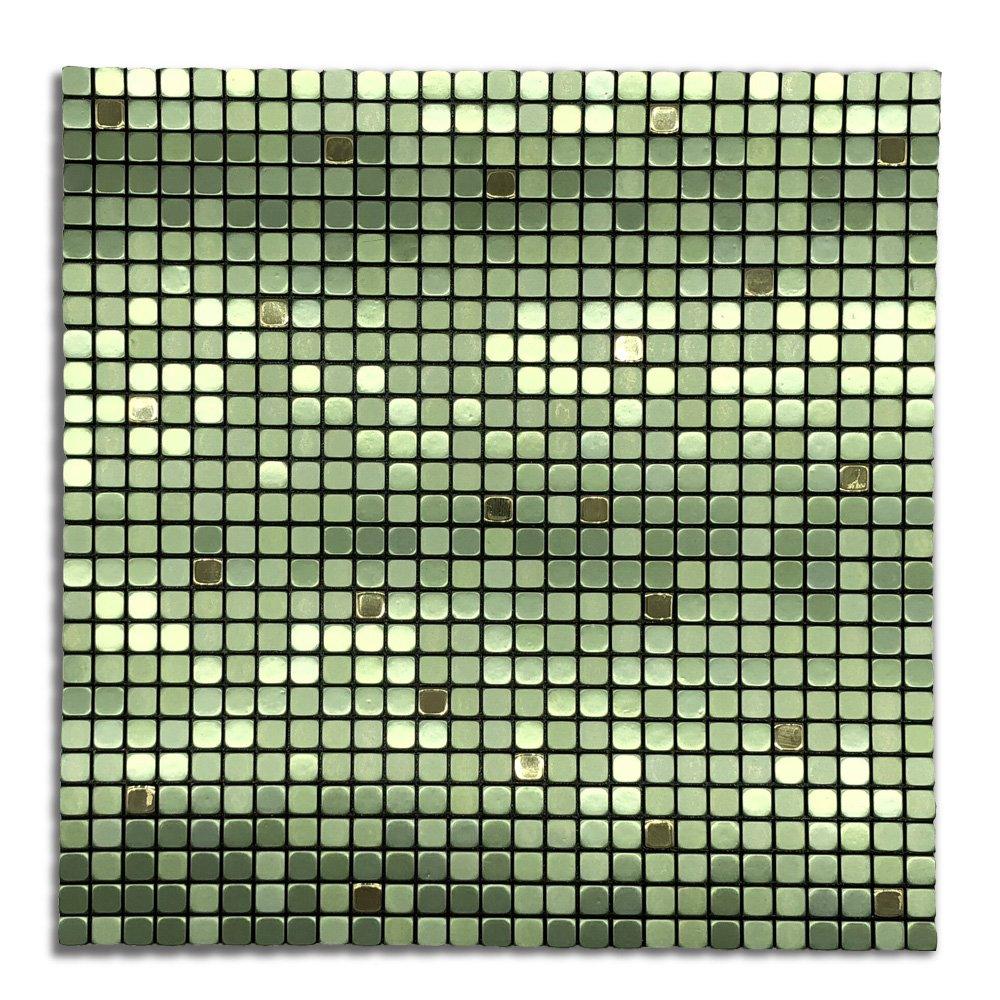 Royllent Modern Matel Aluminum Mosaic Bursh Type Peel&Stick Tiles Kitchen Decoration Backsplash Accent wall Tv&Sofa Background Bathroom Wall 1 Sq.ft Sea Nets (Green)