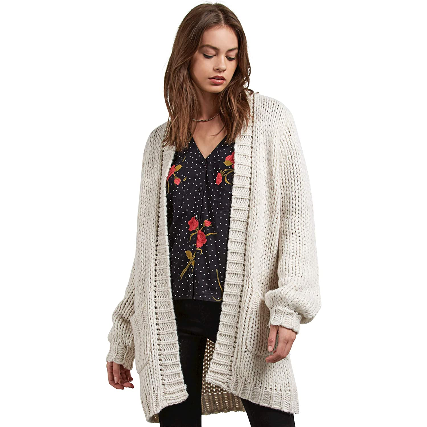 Volcom Women's Knitstix Oversized Chunky Cardigan Sweater B0731808